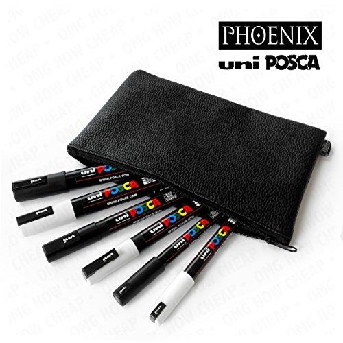 uni-posca-juego-de-blanco-y-negro-con-phoenix-aspecto-de-piel-estuche-pc-1mr-pc-3-m-y-pc-5-m