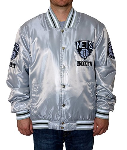 Brooklyn Nets Satin Jacket Silver (4X) (Brooklyn Nets Car Emblem compare prices)
