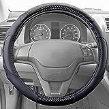 Motor Trend GripDrive Carbon Fiber Series - Steering Wheel Cover - Synthetic Leather Comfort Grip Handles (Black)