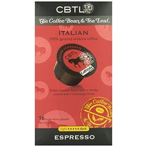 CBTL Italian Espresso Dark Capsules By The Coffee Bean & Tea Leaf 16-Count New