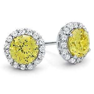 Diamoni Collection 2.2 Carat Simulated Diamond Round Yellow Stud Platium Plated Sterling Silver Earring