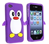 Angelina(TM) 3D Cute Penguin New Style Soft Silicone Phone Case Protective Cover Compatible for iPhone 4 4S Purple