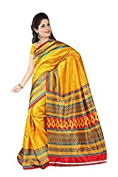 Shree Fashion Hub Yellow Printed Art Silk Saree