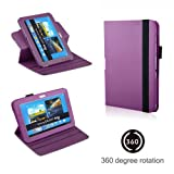 Eallc Smart Leather Stand Case Cover for Samsung Galaxy Note 10.1 2nd Gen Tablet 2014 Edition P600 P601 with Auto Sleep Wake Function +Stylus Pen & Screen Protector Film (N8000/360 Rotating Purple)