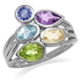 Multicolor Tanzanite Amethyst Topaz Citrine Peridot 925 Sterling Silver Ring