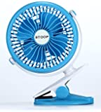 """BTOOP Clip on Fan Battery Fan Quietness Fans Portable Clip to Baby Stroller and Table with a 18650 Battery (Blue, 5"""")"""