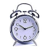 "HITO™ 4"" Silent Quartz Analog Twin Bell Alarm Clock with Nightlight and Loud Alarm (NO25)"