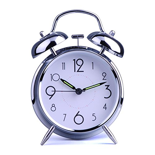HITO™ 4 Silent Quartz Analog Twin Bell Alarm Clock with Nightlight and Loud Alarm (NO25)