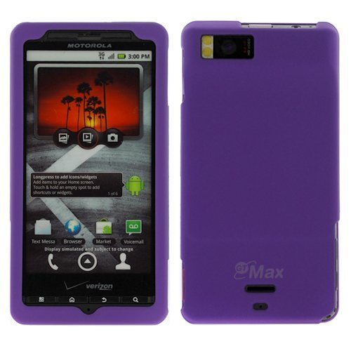 GTMax Purple Rubber Hard Snap On Crystal Cover Case for Verizon Motorola Droid X CDMA Cell Phone
