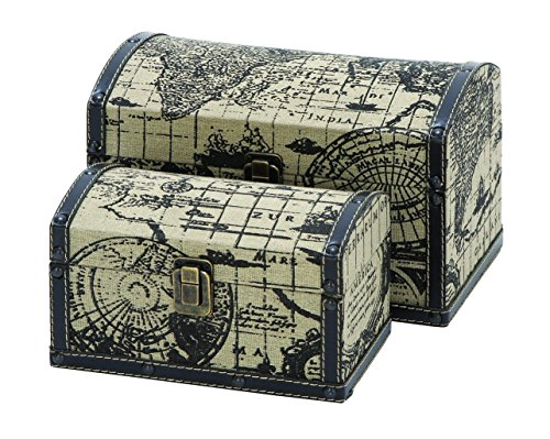 Benzara Two Travel Chests With Ancient World Map front-758751
