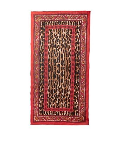 Theodora & Callum Women's Cheetah Paisley Scarf, Coral/Multi