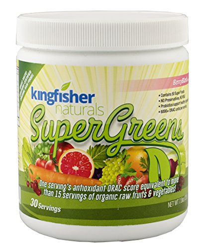 KingFisher Naturals SuperGreens - Loaded with 50 Super Foods, Certified Vegan, 225g Powder, 30 Day Supply