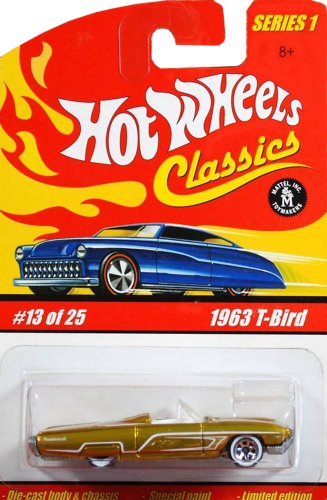 Hot Wheels Classics Series 1 1963 T-Bird ICE BLUE 13/25 #13 1:64 Scale Collectible Die Cast Car with a Special Spectraflame Paint