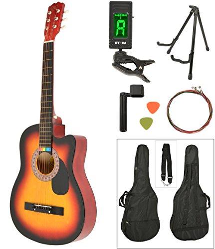 Chitarra acustica Western completa di borsa, LCD accordatore, supporto pieghevole e plettri. Qualitá standard. Colore Sunburst. Dimensioni regolari.