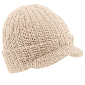 BEECHFIELD PEAKED BEANIE - RIBBED WARM CAP HAT - 3 COLOURS (OATMEAL)
