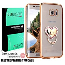 buy [Ring Buckles + Electroplate Frame Tpu] Samsung Galaxy S6 Edge+ / S6 Edge Plus Clear Case, Elekmate® Ultra Thin Protective Back Cover Case For S6 Edge+ / S6 Edge Plus [Cz Diamond] (Gold+Pink Heart)