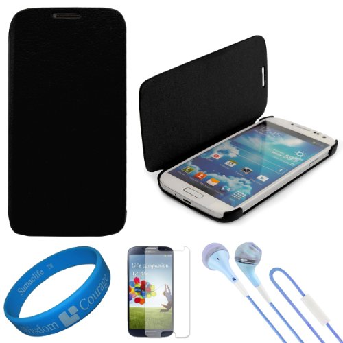 Vg Premium Faux Leather Flip Carrying Case W/ Sleeve Mode Function (Black) For Samsung Galaxy S4 / S Iv Android Smart Phones + Clear Anti Glare Screen Protector Strip W/ Cleaning Cloth + Blue Vg Stereo Headphones With Windscreen Mic & Silicone Ear Tips +