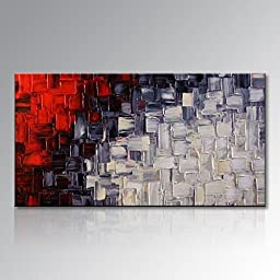 Seekland Art Handmade Red and White Abstract Canvas Wall Art Modern Contemporary Acrylic Painting for Living Room Unframed (48\