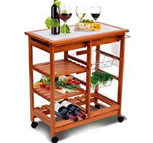 meuble rangement cuisine chariot de service desserte a roulettes roulante en bois neuf 20. Black Bedroom Furniture Sets. Home Design Ideas