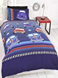 Kids Childrens Single Bed Size Duvet Cover Mini Camper Beetle Cars Navy Blue Red