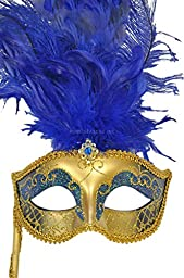 Pure Seasons Colombina Vanity Fair Venetian Mask (Blue)-Standard