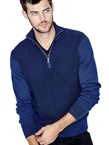 GUESS Men's Derek Half-Zip Plaited Sweater