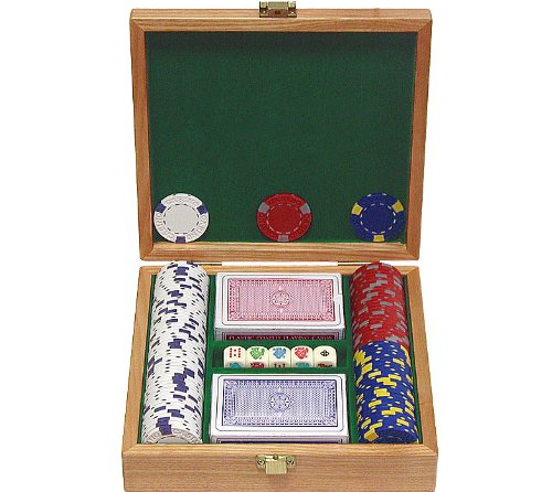 Trademark 100 13 Gm Pro Clay Casino Chips with beautiful Solid Oak Case Poker Chip Set (Brown)
