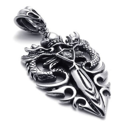 18″ KONOV Jewelry Tribal Biker Men's Stainless Steel Necklace Gothic Dragon Sword Pendant – Silver Black, 18 inch Chain (with Gift Bag)