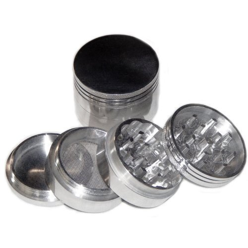 GENERIC SILVER Four Piece NEW STYLE 2 1/4″ Herb, Spice or Tobacco Pollen Grinder
