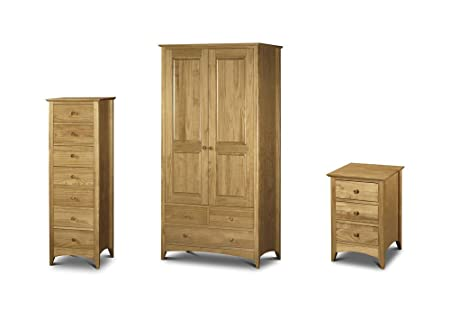 Julian Bowen Kendal 3 Piece Bedroom Set - 3 Drawer Bedside + 7 Drawer Narrow Chest + Combination Robe - Solid Pine Colour