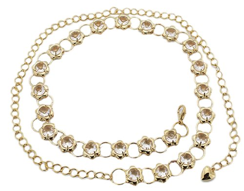 BONAMART ®Women Ladies Skinny Metal Chain Belt Bling Rhinestone Flower Gold 110cm