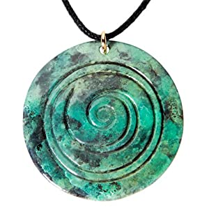 Spiral pompeii patina Pendant Necklace on adjustable natural fiber cord