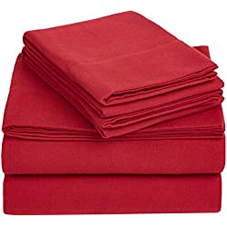 AmazonBasics Solid Lightweight Flannel Sheet Set - Queen, Bordeaux Red