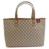 GUCCI Tote bag VINTAGE PVC GG design canvas x leather Beige x Brown 211134 KGD3G