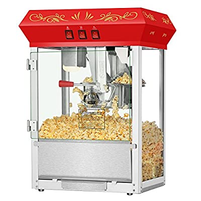 Superior Popcorn Red Movie Night Popcorn Popper Machine Cart, 8 Ounce from Superior Popcorn Company