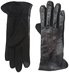 Gloves International Women's Leather and Wool Blend Gloves, Black/Red, Medium