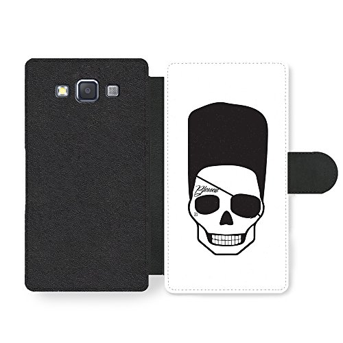 Cool Hipster Skull with Flat Top Eye Patch and Tattoo Minimalist Custodia in Faux Pelle per Samsung Galaxy A3 (2014 edition)
