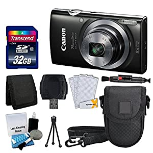 Canon PowerShot ELPH 160 Digital Camera (Black) + Transcend 32GB Memory Card + Point & Shoot Camera Case + USB Card Reader + Memory Card Wallet + LCD Screen Protectors + Cleaning Kit + Valued Bundle