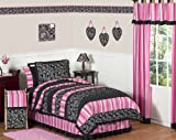 Pink and Black Madison Girls Children & Teen Bedding 3pc Full / Queen Set