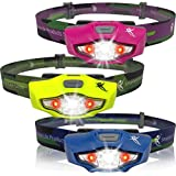 LED Headlamp Flashlight - Brightest Headlight, 1 AA Battery, Only 1.5 oz. - Waterproof - with 4 White, 2 Red & SOS Light Modes - Best Headlamps for Running, Cycling, Camping, Reading, Crafts & DIY Chores - By SmarterLife Products®
