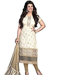 DivyaEmporio Women's Cotton Resham Salwar Suit Dupatta Unstitched Dress Material (Off-White_Free Size)
