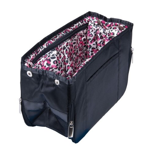 Purse Organizer by Pursfection -- Black with Pink Leopard Lining