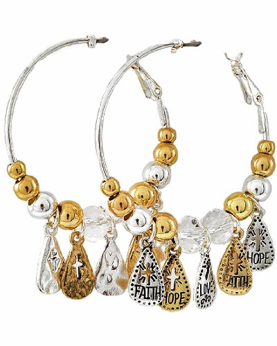 Two-Tone Metal and CC Beads Clear Glass Crystal Accents Medium Hoops Message Charm Earrings