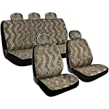 BDK 11pc Safari Print Low Back Front Car Seat, Rear Bench Cover with Head Rest Covers Set for Car Truck SUV