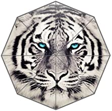 Popular White Tiger Face With Green Eyes Automatic Folding Travel Umbrella