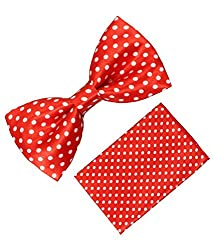 Classique Satin Pre Tied Polka Printed Red Wedding And Party Tuxedo Bow Tie With Matching Pocket Square