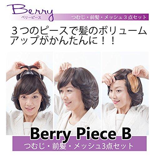 部分ウィッグ 人毛100% ミニヘアピース つむじ 前髪 メッシュ 3点セット 医療用/ファッション用 総手植製品 (ベリーB) (H2B 黒自然色)