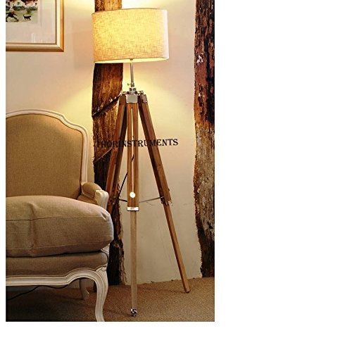 Thor instruments co vintage classic teak wood tripod for Tripod spotlight floor lamp in teak wood