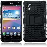 JKase DIABLO Series Tough Rugged Dual Layer Protection Case Cover with Build in Stand for LG Optimus G LS970 (SPRINT Only, Will NOT Fits AT&T Version) - Retail Packaging - Black