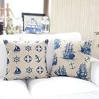 """Yamimi Mediterranean sailor Linen Cloth Pillow Cover Cushion Case 18"""",Q478 by Yamimi"""